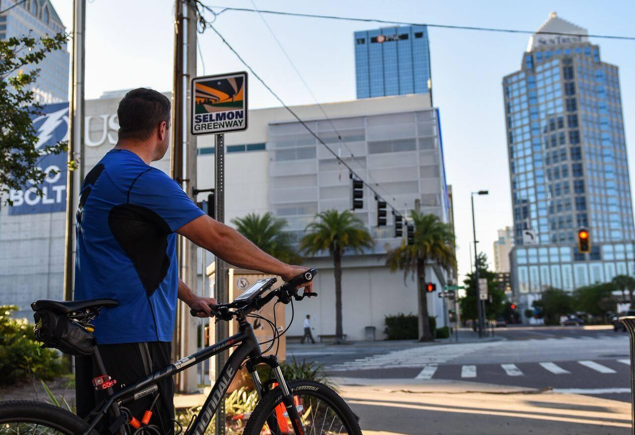 Biking in Downtown Tampa