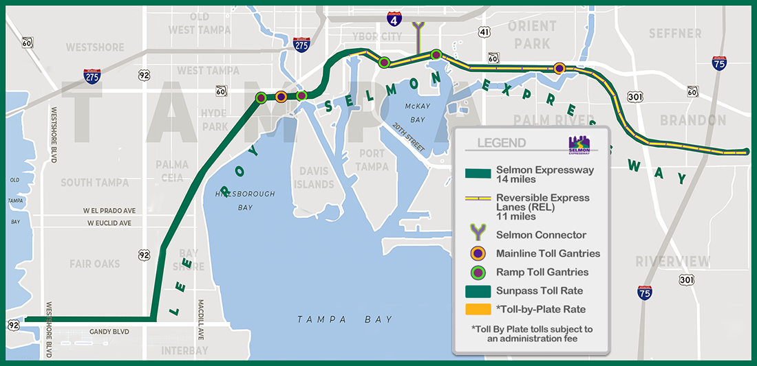 Selmon Expressway Toll Map
