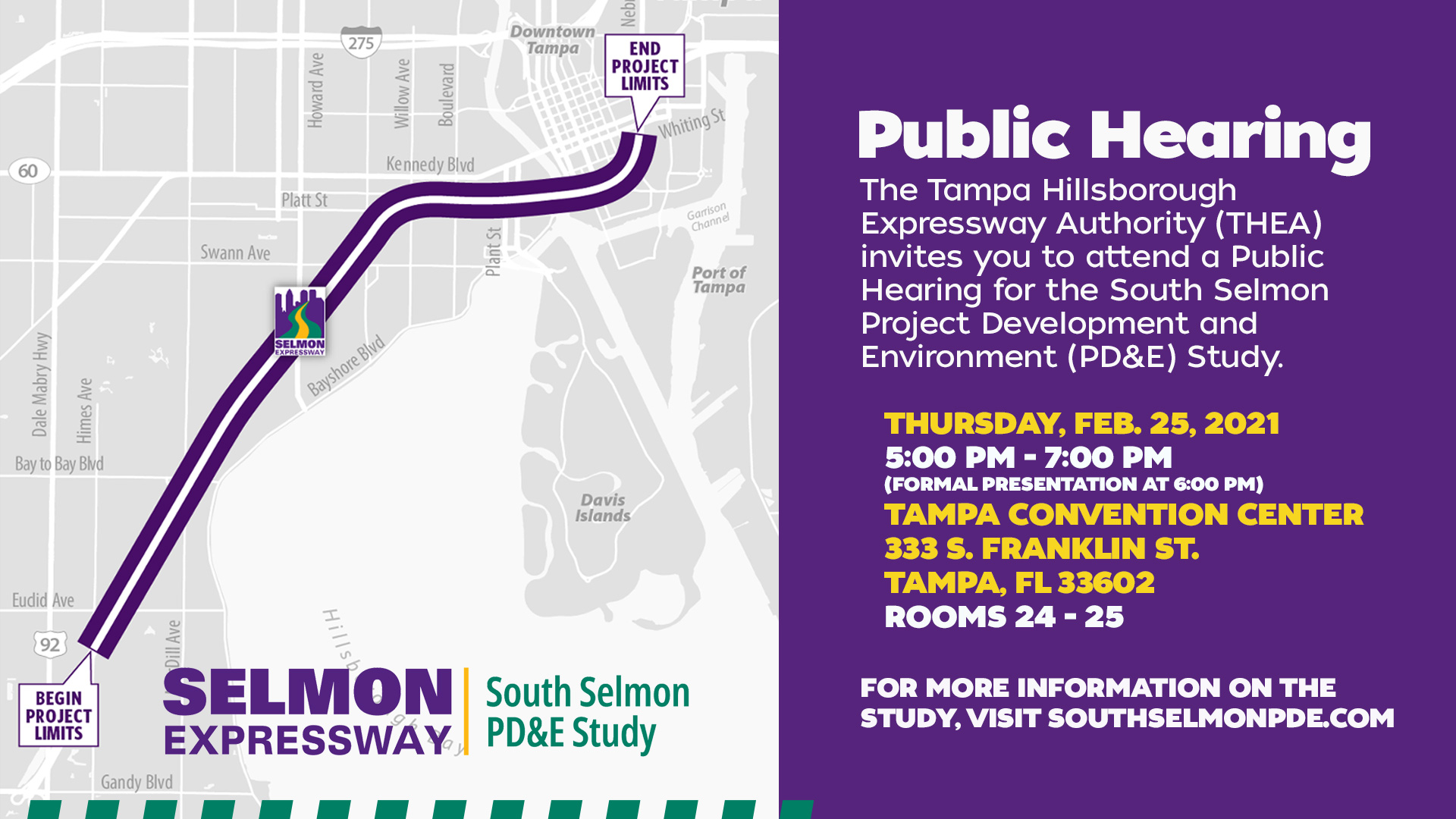 THEA to Hold Public Hearing for the South Selmon Project Development and Environment (PD&E) Study